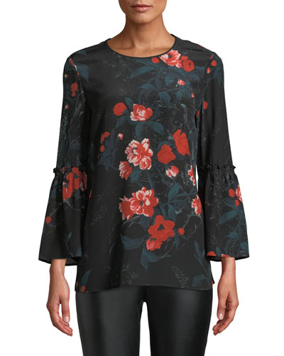 Roslin Bell-Sleeve Top w/ Terrace Florets
