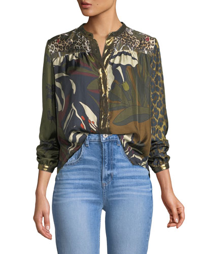 Floral-Pattern Mandarin-Collar Silk Blouse