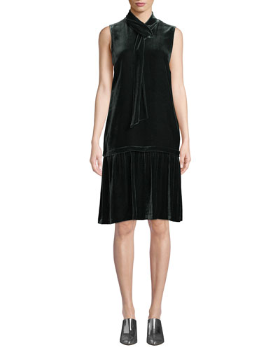 Abbie Tie-Neck Sleeveless Velvet A-Line Dress