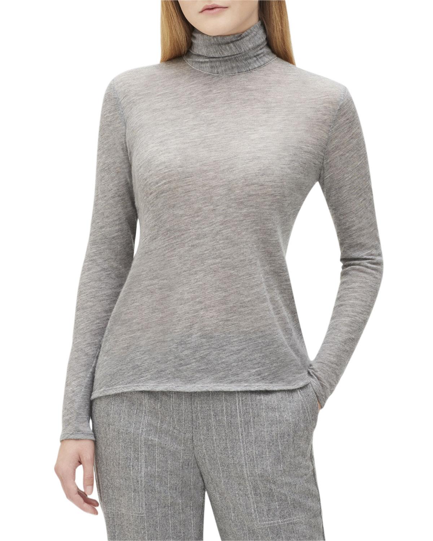Dresden Turtleneck Long-Sleeve Cashmere Jersey Top, Smoke