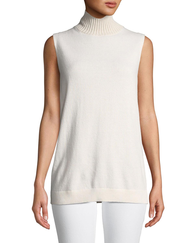 Turtleneck Sleeveless Cashmere Sweater