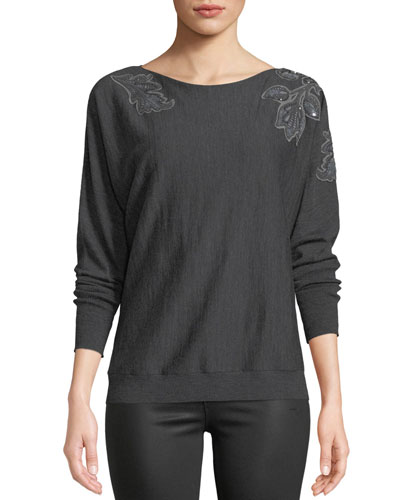 Dolman-Sleeve Merino Wool Sweater w/ Embroidery