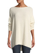 Lafayette 148 New York Drop-Shoulder Novelty Sequin Pullover