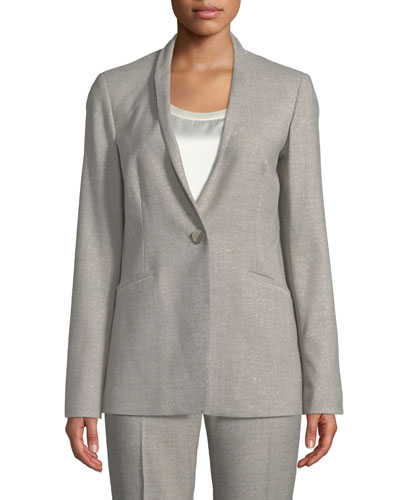Darcy One-Button Stardust Wool Suiting Jacket