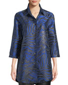Caroline Rose 3/4-Sleeve Button-Front Shimmering Animal-Jacquard