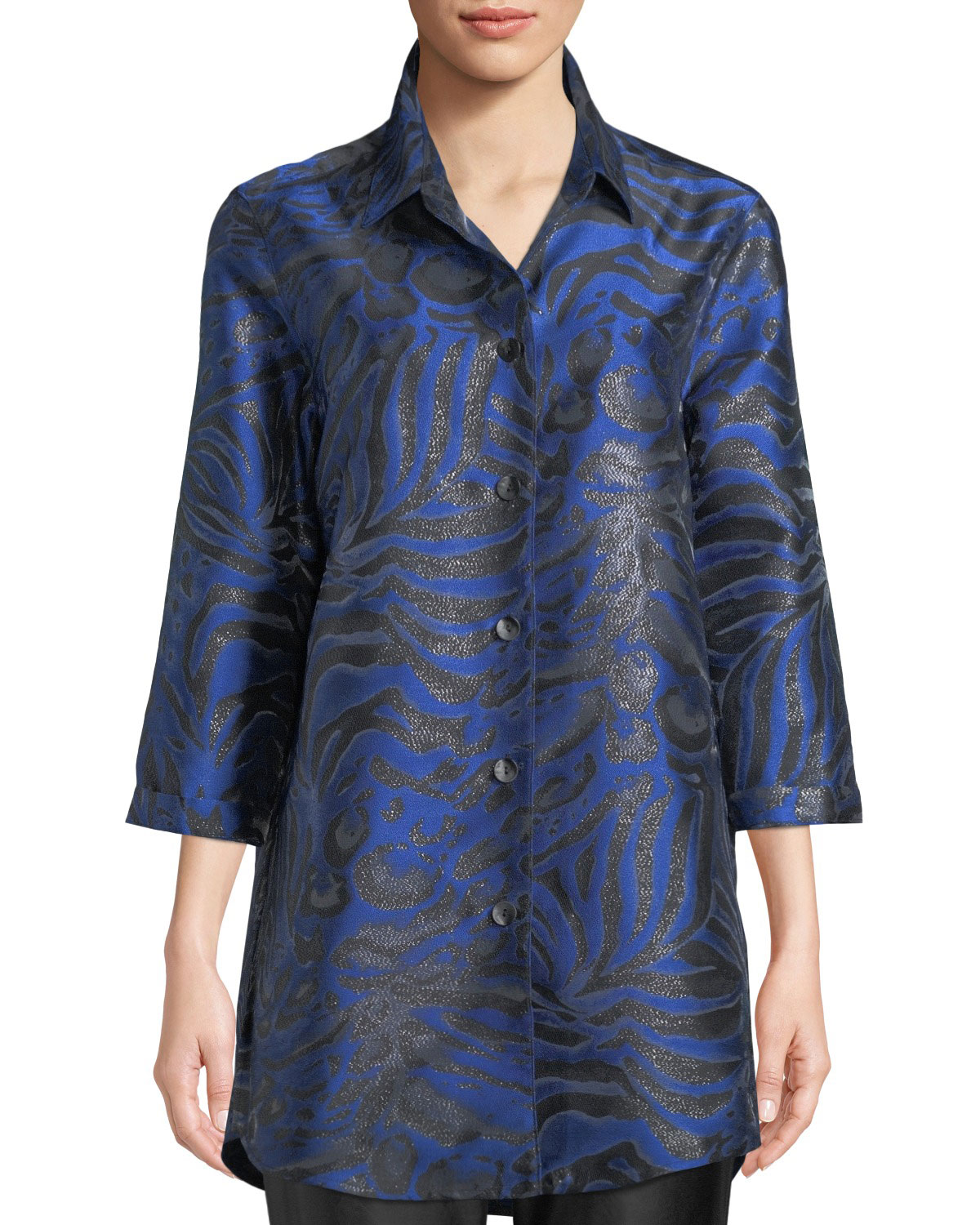Caroline Rose 3/4-Sleeve Button-Front Shimmering Animal-Jacquard Boyfriend Shirt