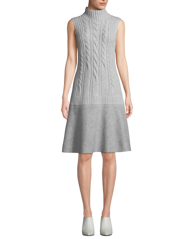 Turtleneck Sleeveless Cable-Knit Cashmere Dress W/ Needle Punch Hem in Grey Heather