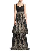 David Meister Sleeveless Tulle Gown w/ Metallic Embroidered