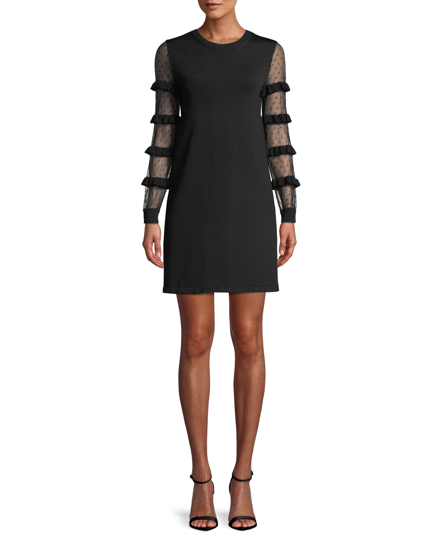 Point D'esprit & Ruffle Long-Sleeve A-Line Knit Mini Cocktail Dress