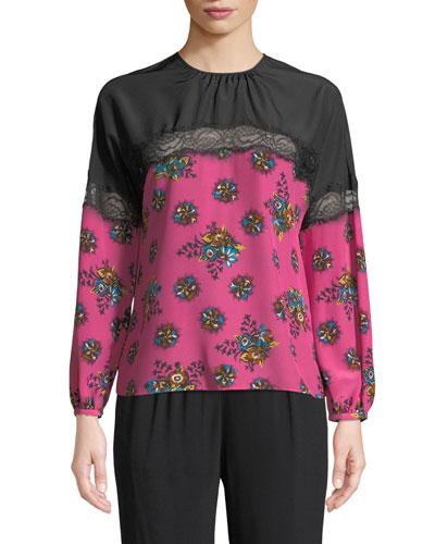 b83fc78ad1050 Quick Look. REDValentino · Bright Floral Print Silk Blouse