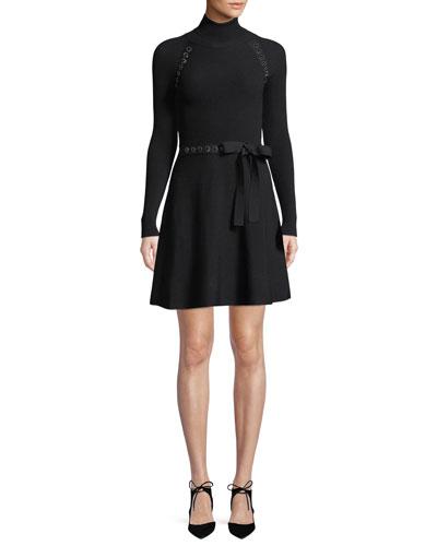Turtleneck Long-Sleeve Ribbon Waist Knit Mini Dress w/ Metal Trim