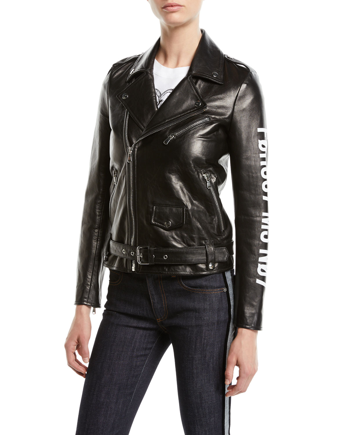 LEATHER MOTO JACKET W/ ENCRYPTED LOVE NOTE