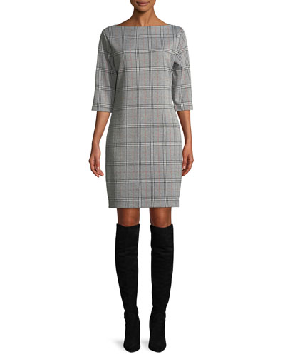 High Boat-Neck 3/4-Sleeve Stretch-Plaid Sheath Dress