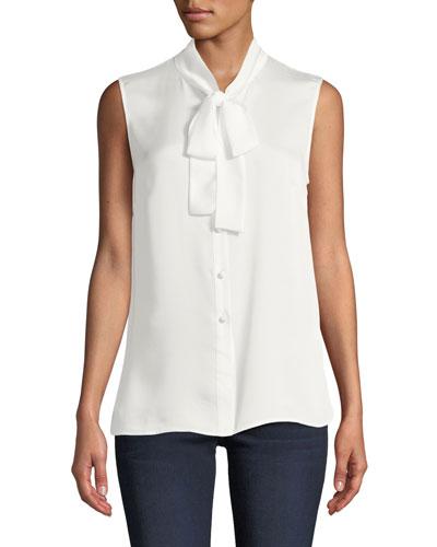 Petite Scarf Tie-Neck Sleeveless Button-Front Blouse