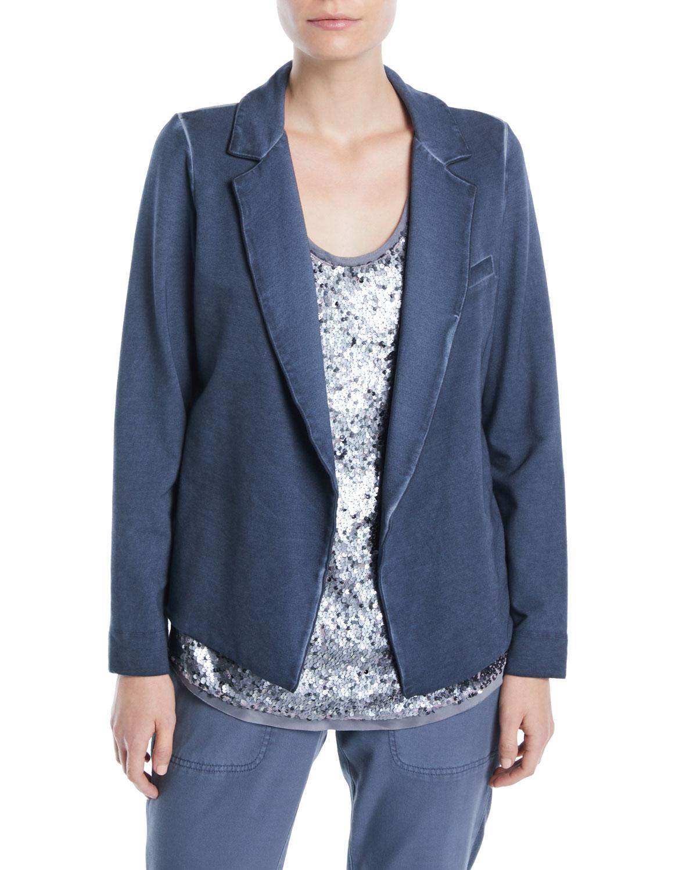 Terry Open-Front Garment-Dye Blazer