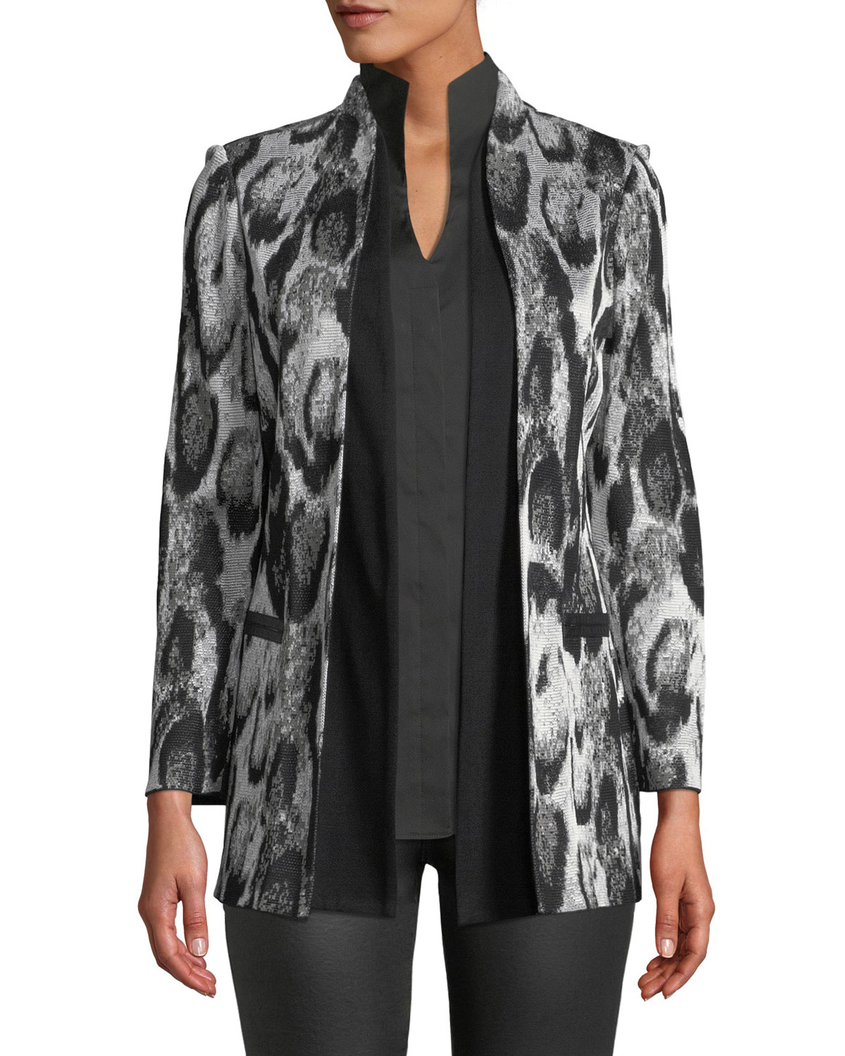 MISOOK SNOW LEOPARD PRINTED JACKET W/ SHAWL FRONT, PLUS SIZE