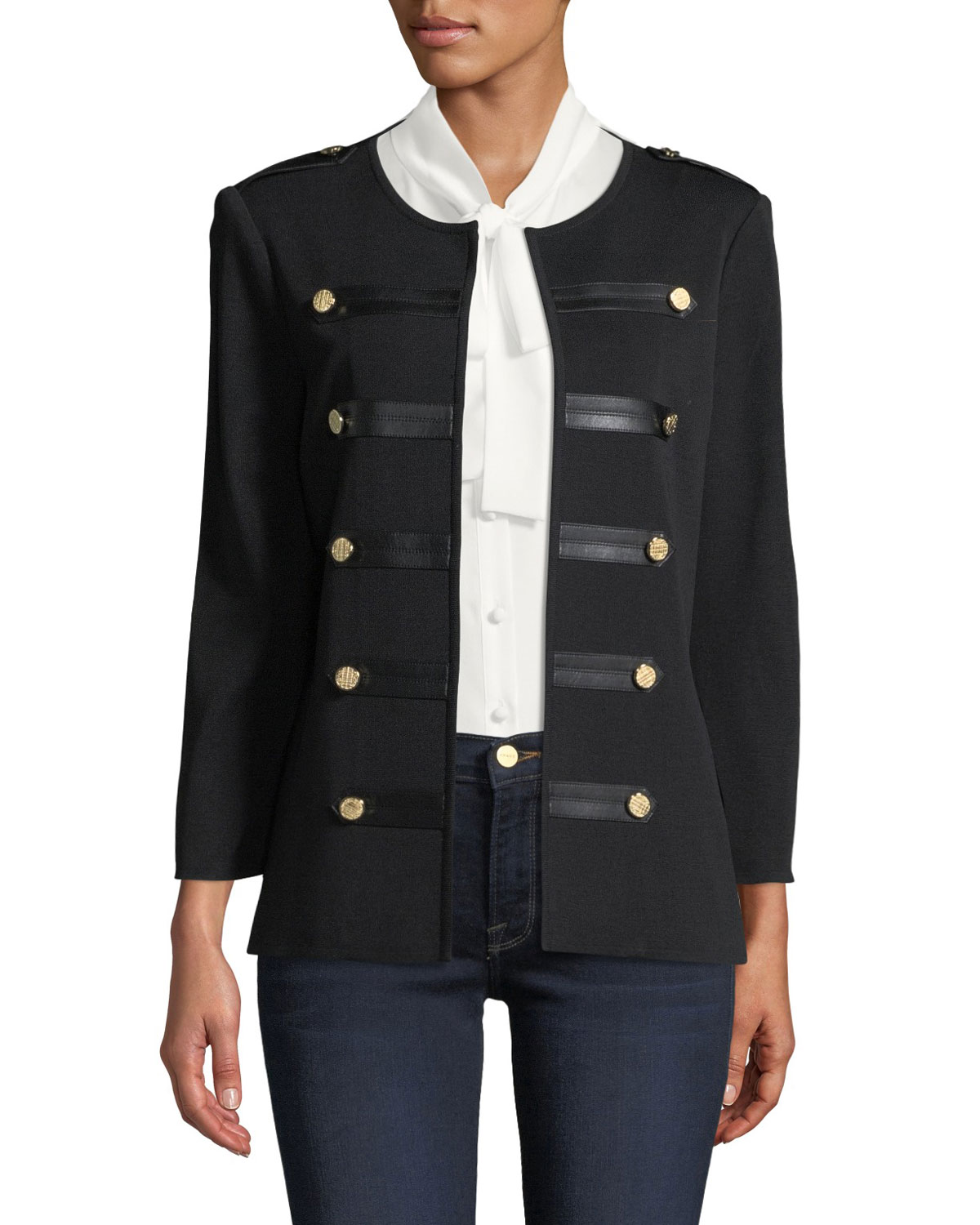 MISOOK KNIT MILITARY JACKET WITH FAUX-LEATHER EPAULETS, PLUS SIZE