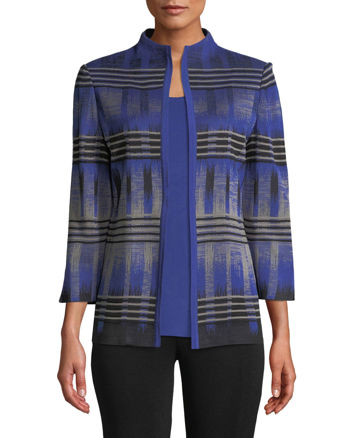High-Neck Graphic Knit Jacket, Petite