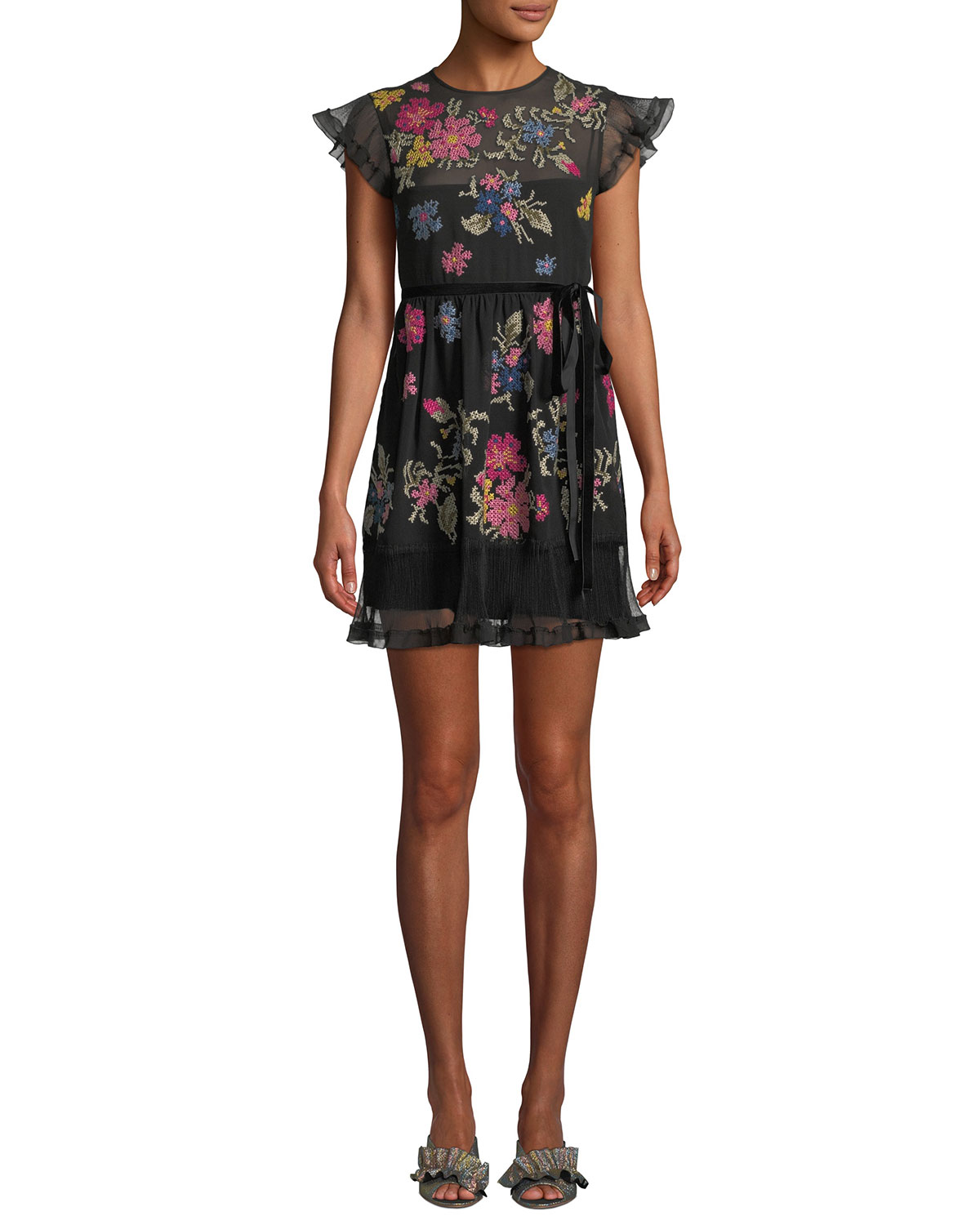 Cap-Sleeve Floral-Embroidered Ruffle Dress