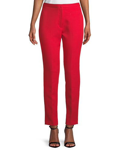 Stretch Crepe Cigarette Pants, Ruby Red