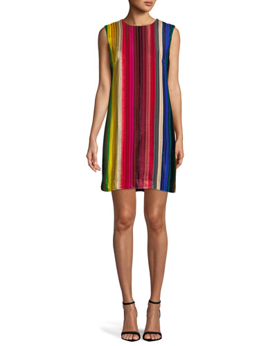 Gina Rainbow Velvet Shift Dress