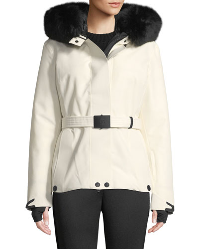 Laplance Belted Coat w/ Detachable Fur