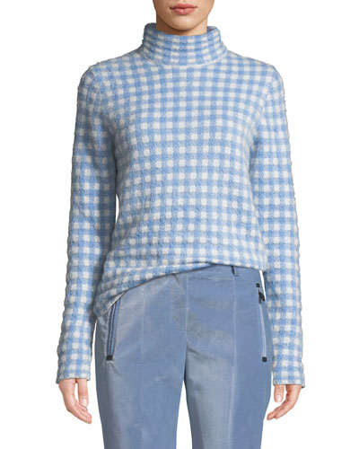 Gingham Turtleneck Sweater