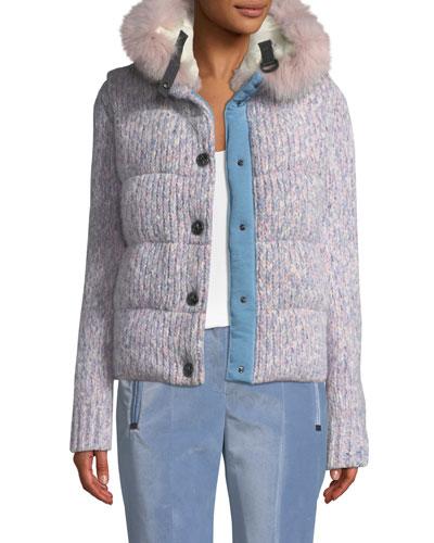 Tweed Cable-Knit Puffer Coat w/ Fur-Trim Hood