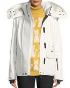 Moncler Grenoble Entova Coat with Detachable Fur Hood