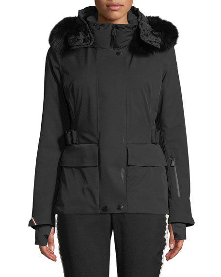 Moncler Grenoble Entova Parka Coat w/ Removable Fur Hood