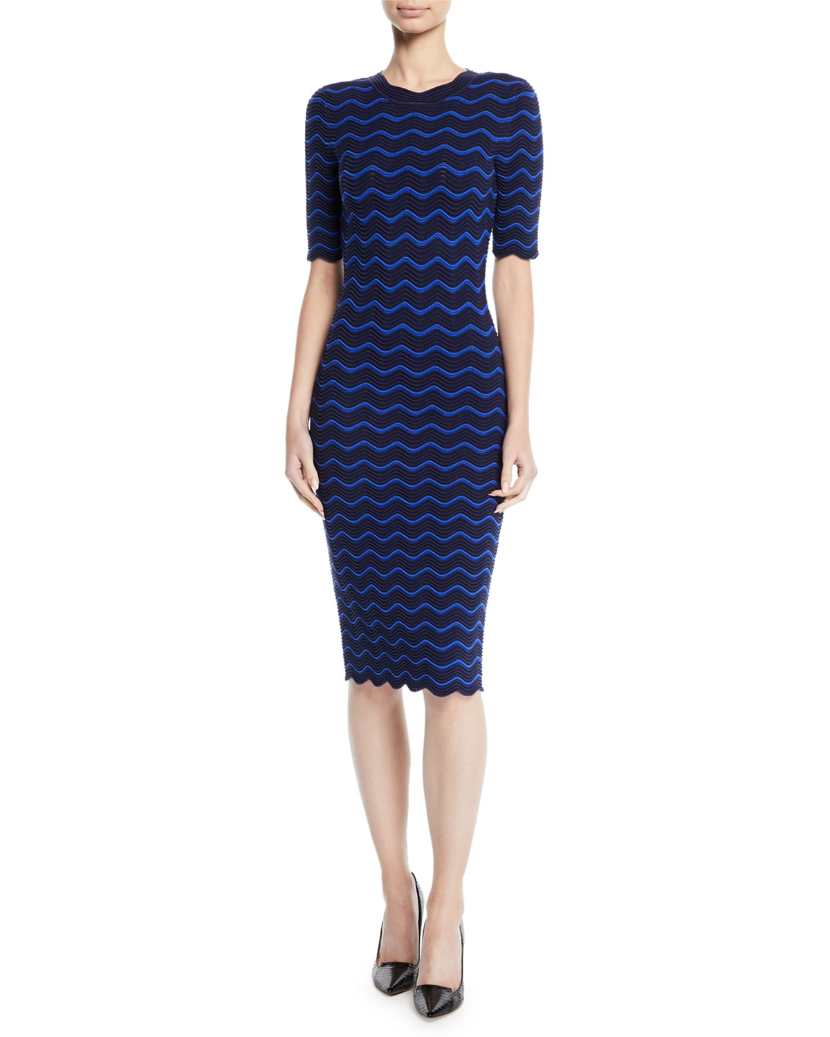 Textured Wave Knit Sheath Dress