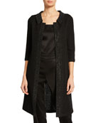 St. John Collection Allure Knit 3/4-Sleeve Topper Coat