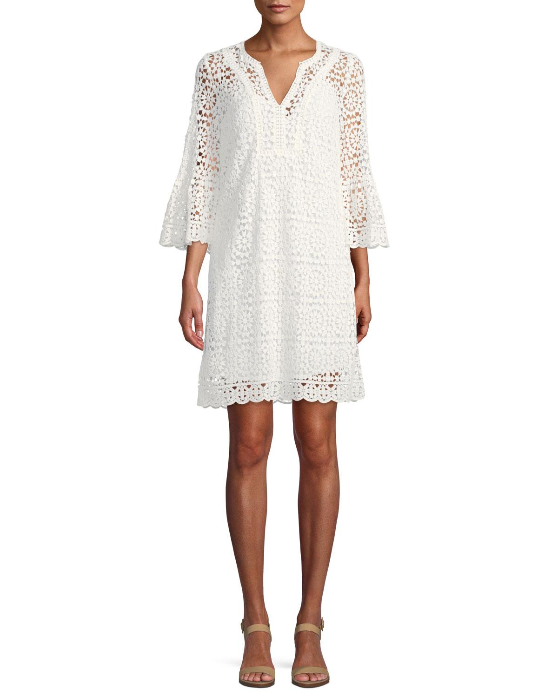 crochet lace dress w/ bell sleeves