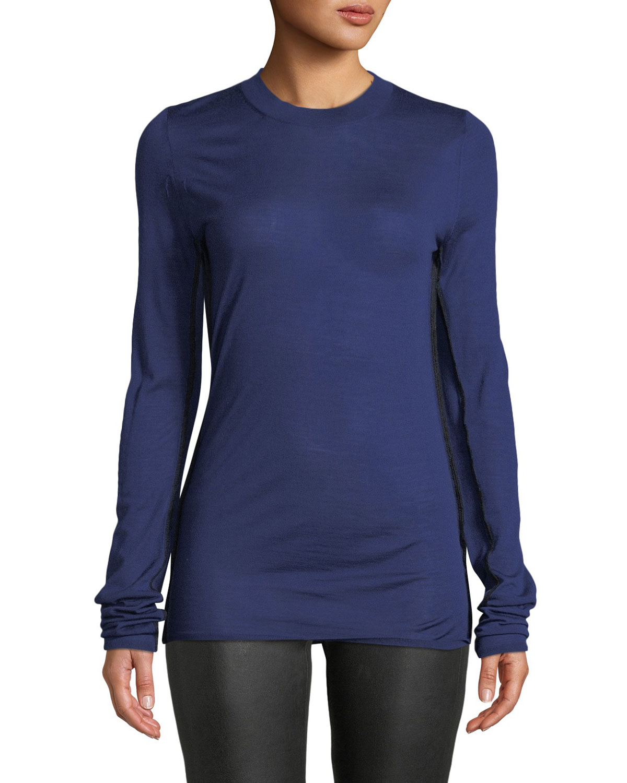 Long-Sleeve Crewneck Wool Sweater w/ Contrast Seams