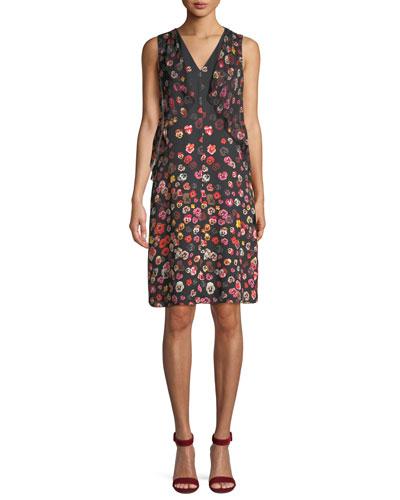 Jezeble V-Neck Sleeveless Floral-Print Silk Shift Dress