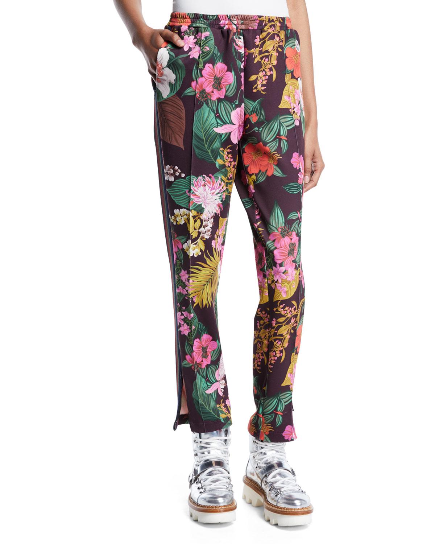 Floral-Print Straight-Leg Track Pants