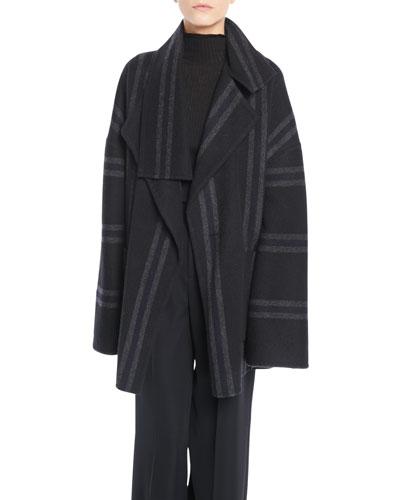 Striped Belted Wool Blanket Coat