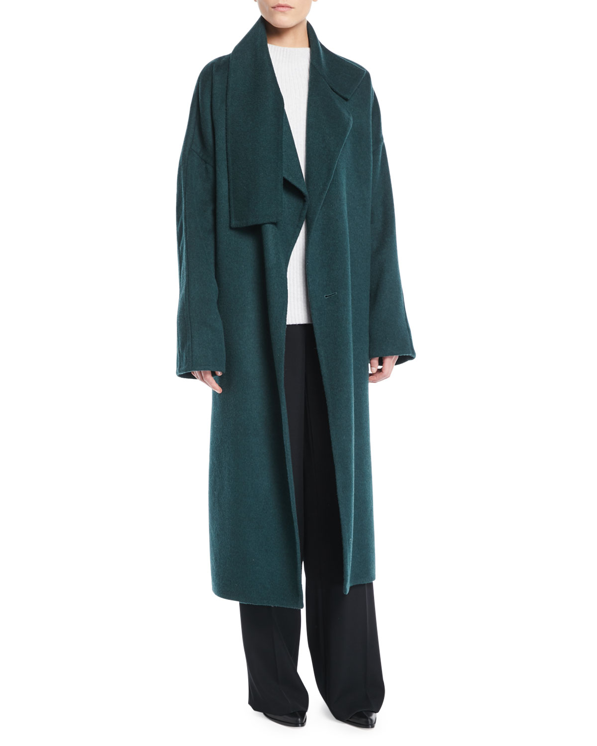 Cozy Belted Long Wool Coat