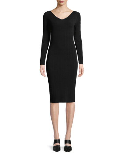 7104bf3e99586 Quick Look. Vince · Ribbed V-Neck Long-Sleeve Midi Dress. Available in Black