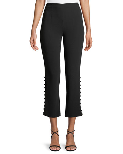 Lida Cropped Side-Button Crepe Pants