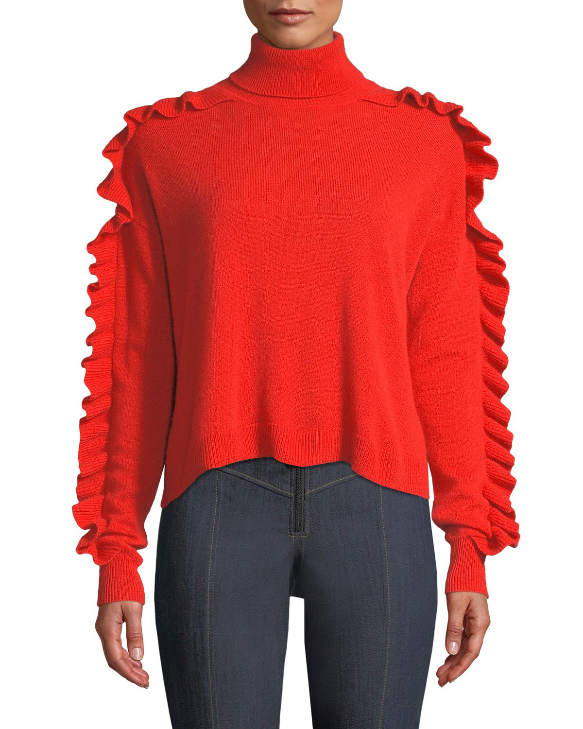 Tous Les Jours Savanna Ruffle-Trim Cashmere Turtleneck Sweater in Grenadine