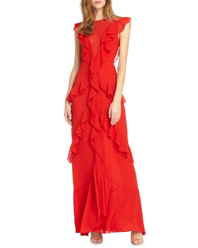 Draped Ruffle Gown w/ Cap Sleeves