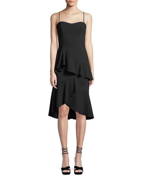 Black Halo Barbados Slip Dress w/ Asymmetric Ruffle Hem
