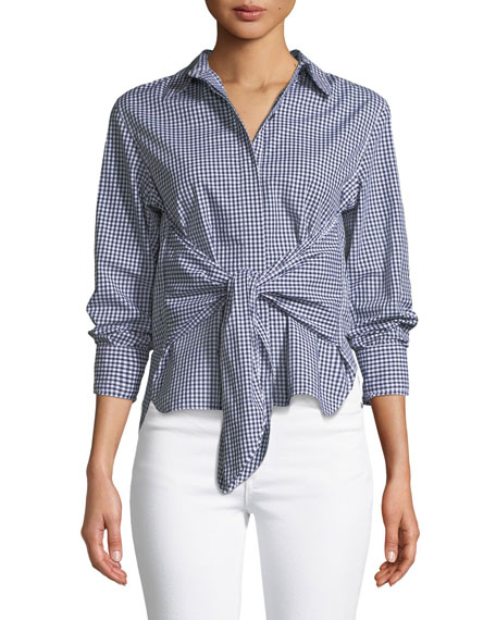 Rag & Bone Wendy Tie-Front Gingham Shirt