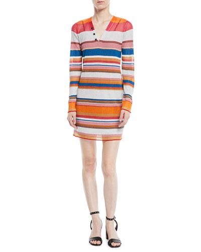 Katie Striped Long-Sleeve Mini Dress