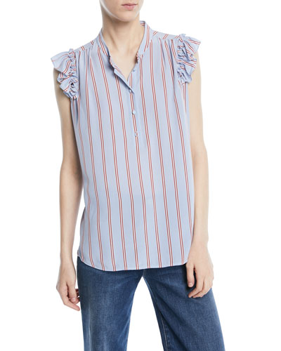 82d22eb97c927 Quick Look. FRAME · Striped Sleeveless Ruffle Button-Front Top