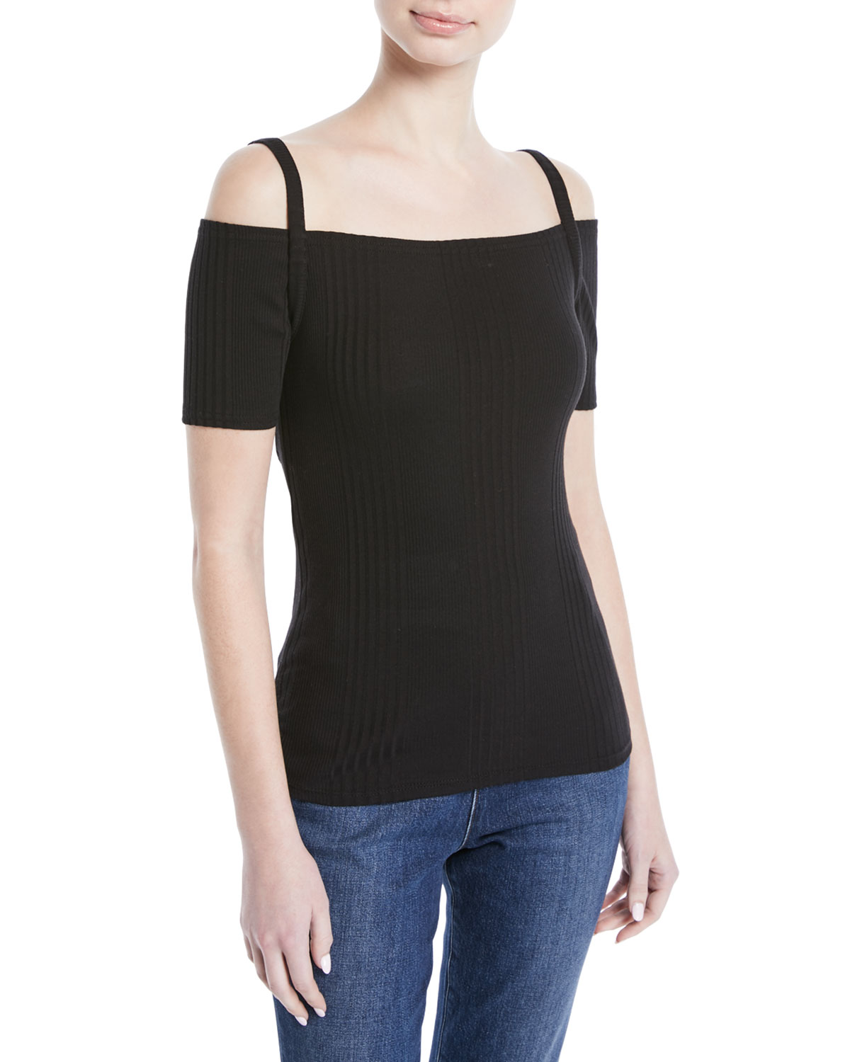 Strappy Ribbed Cold-Shoulder Top