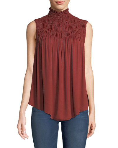 Smocked High-Neck Sleeveless Top