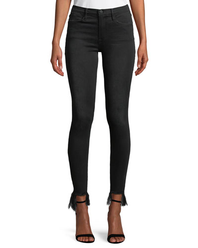 Le High Skinny Stiletto Jeans w/ Frayed Hem