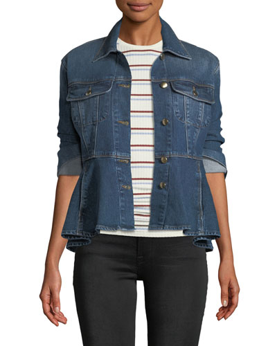 Button-Front Flounce Denim Jacket